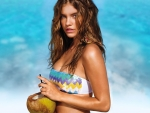 Barbara Palvin with coconut