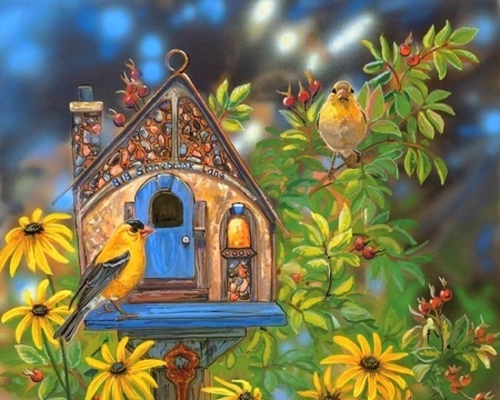 Stonebrook Lane - love four seasons, birds, spring, paintings, summer, birdhouse, flowers, nature, beloved valentines, animals