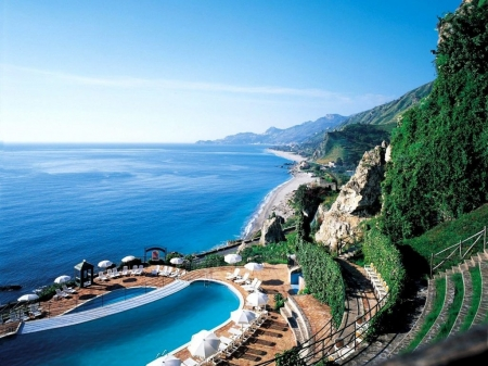 Taormina Beach,Sicily - resort, beach, sicily, nature, trees, pool, sea