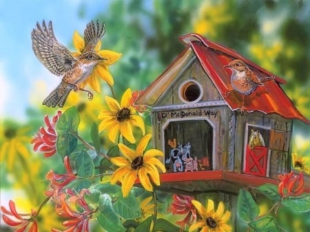 Ol' McDonald Way - love four seasons, birds, spring, paintings, summer, birdhouse, flowers, nature, beloved valentines, animals