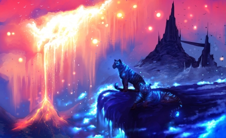 The Guardians - art, luminos, ryky, lava, tiger, fire, fantasy, water, jademere, pink, guardians, blue