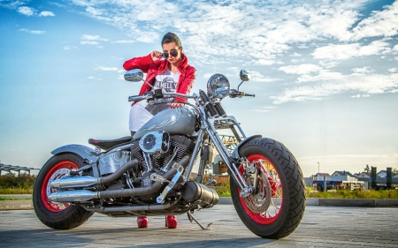 Girl and her Harley Davidson - harley davidson, motorcycle, brunette, model