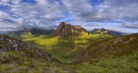 Scottish Highland Landscape Mountains Nature Background