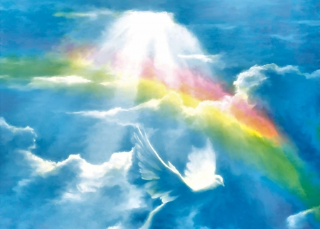 God's Promise - dove, art, wide screen, rainbow, bird, beautiful, artwork, painting