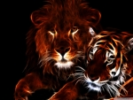 glowing lion and tiger
