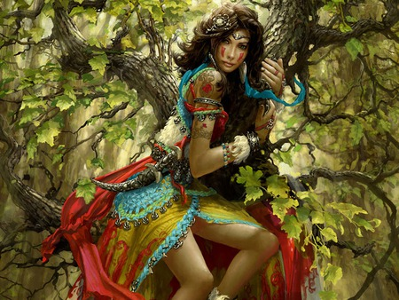 Gypsy girl - colorful, gypsy, dangerous, women, escape, tree, trees, beautiful, woman, girl, pretty