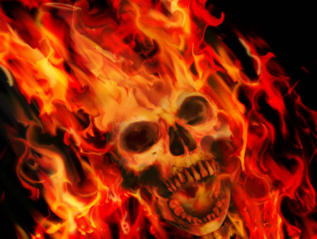 FLAMING SKULL - skull, flaming, wallpaper