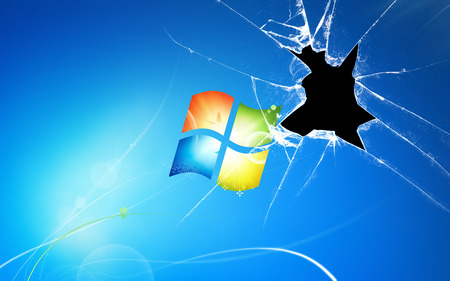 Wallpaper 131 - Windows 7 - red, clear, broken, 7, yellow, microsoft, gloss, windows, glass, green, windows 7, seven, shatter, blue