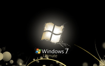 Wallpaper 148 - Windows 7 - windows logo, 7, black, yellow, microsoft, abstract, sky, clouds, windows, gold, cool, windows 7, dark, seven