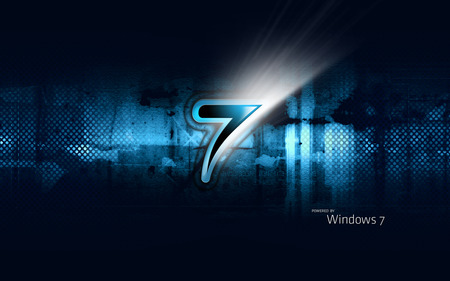 Wallpaper 155 - Windows 7 - 7, microsoft, chrome, abstract, windows, cool, windows 7, dark, steel, seven, white, blue