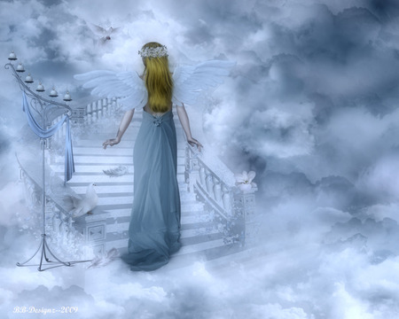 Angel Blessings - wings, blessings, stairs, angel