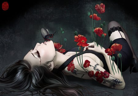 Poppies & Passion - red, poppies, woman, kiss, butterfly, gothic, colorel, people, flowers, art, flutters, female, model, tattoo, design, sexy, blood, goth, girl, sad, flower, sorrow, butterflys