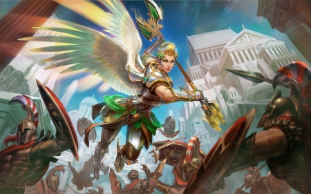 Nike - wings, luminos, goddess, angel, smite, game, fantasy, girl, green, nike, white, scebiqu, blue