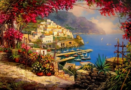 Mediterranean view - mediterraneo, pretty, beautiful, sea, boats, painting, village, art, view, houses, port, pier, spring, terrace, hatrbor, summer, coast