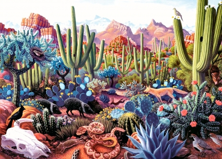 Cactusland F1C - art, beautiful, artwork, bird, painting, wide screen, scenery, snake, landscape, cacti