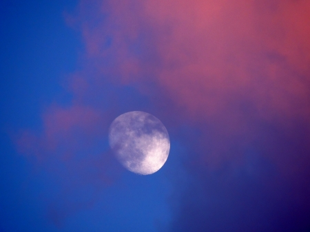 Cloudy Moon - Moon, Space, Clouds, Photography, Sky