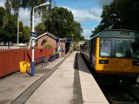 Mid morning rail service to Manchester - DMU, 142, Station, Cheshire, Railway, Marple, England, Northern Rail, Train, Rose Hill, Pacer