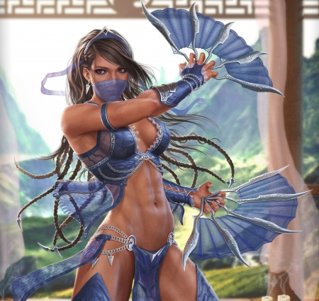Princess Kitana - video games, beautiful, bikini, fans, mountains, beauty, Mortal Kombat, kitana, top, long hair, princess, black hair, blue