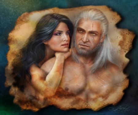 The Witcher - alenaekaterinburg, geralt, witch, art, luminos, the witcher, yennefer, game, man, fantasy, girl, love, couple