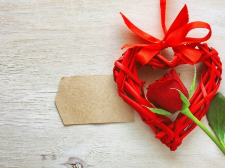 ♥ - red, red roses, romantic, rose, ribbon, love, heart