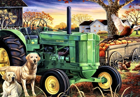Morning Work - John Deere - planting, art, tractor, pheasant, beautiful, artwork, canine, farm, bird, painting, wide screen, scenery, crops, landscape, John Deere, dogs