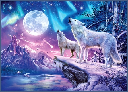 White Wolves Under The Full Moon Fantasy Abstract Background Wallpapers On Desktop Nexus Image 2232476