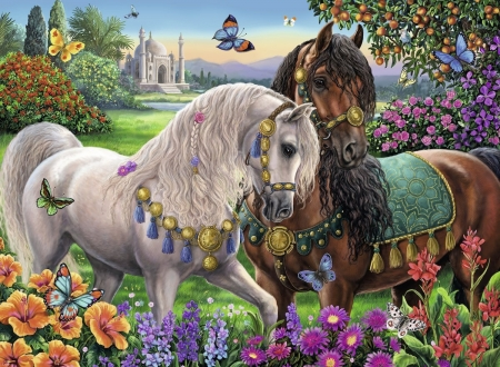 Royal Horses - mosque, brown, painting, flowers, butterflies, white, artwork, meadow