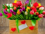 Basket of colorfull tulips ♥