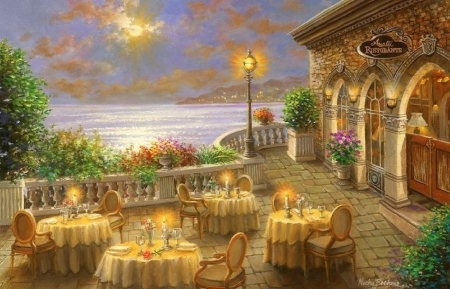 Romantic Dining Invitation - dinner, tables, restaurants, romantic, love four seasons, attractions in dreams, sea, candles, paintings, sunsets, chairs, seaside, nature
