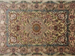 Handmade silk rug with beautiful flower