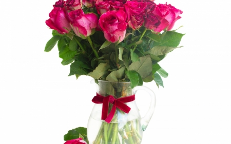 •ღ✿ღ• - bouquet, ribbon, love, vase, roses