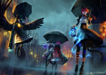 [Night Out] - umbrellas, satori komeiji, koishi komeiji, wings, rin kaenbyou, anime, dark, touhou, utsuho reiuji, rain