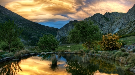 Sunset in New Zealand - Sunset, Pond, Nature, Mountain