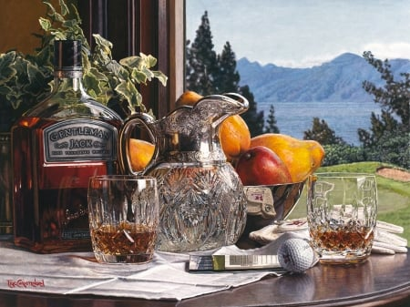 Another Round - glass, still life, bottle, fruits, whisky