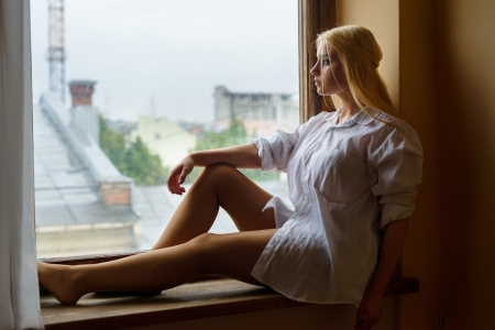 Beauty - sill, window, profile, girl, beautiful, sexy