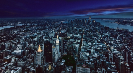 New York Evening Aerial Other Nature Background