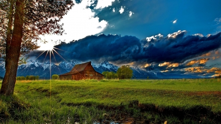 Mountain Cabin - house, grass, cabin, clouds, snowy, mountain, nature, field, meadow