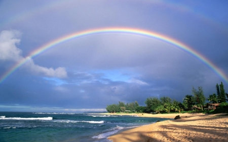 rainbow - fun, cool, rainbow, nature, lake