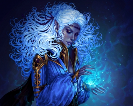 Dark elf sorceress - dimary, luminos, elf, sorceress, fantasy, girl, dark, magical, white, blue