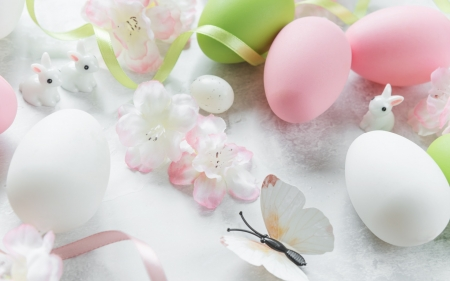 Easter - ribbon, ribbons, Easter bunnies, cherry blossoms, figurines, Easter, butterfly, eggs, blossoms, rabbits, flowers, Spring, bunnies