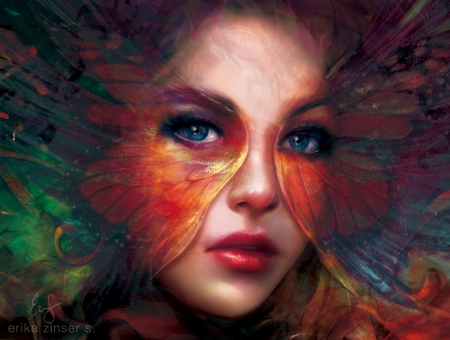 Butterfly - red, art, wings, luminos, fantasy, butterfly, girl, green, papillon, face, eyes