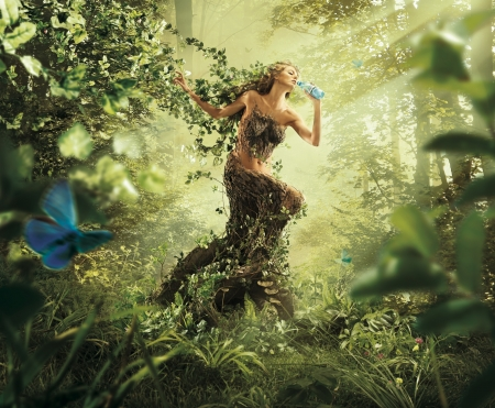 Nymph - forest, nymph, creative, fantasy, add, butterfly, green, aqua, commercial