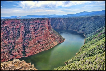 Red Canyon, Utah - landscape, water, sky, mountains, clouds, river
