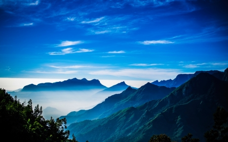 Mountains - nature, sky, blue, mountains