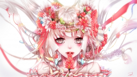 Megurine Luka - soroa, manga, megurine luka, girl, anime, flower, face, white, pink