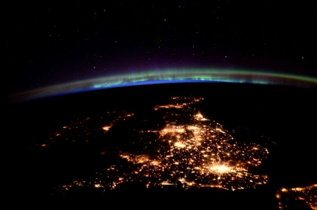 United Kingdom at night under an aurora - Tim Peake, Photograph, United Kingdom, Space Station, Great Britain