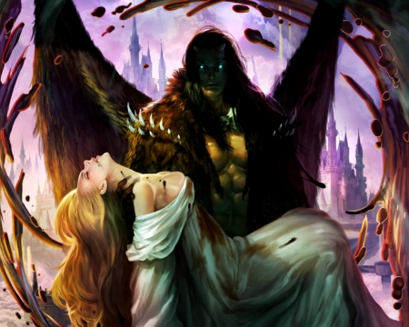 Hades, King of the demons - king, hades, art, wings, legend of the cryptids, game, man, demon, fantasy, girl, couple, woo chul lee