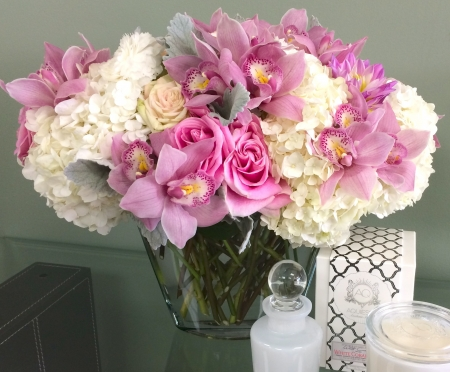 Flowers - glass, bouquet, rose, orchid, flower, vase, white, pink