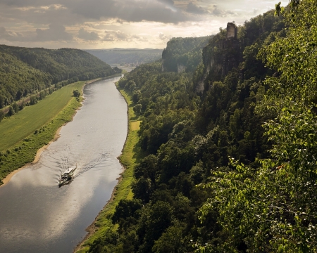 The River Elbe,Germany - valley, rocks, horizon, clouds, river, germany, elbe, mirror, boat, trees, nature