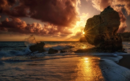 Sunrise - rocks, shore, sun, stones, rays, Portugal, surf, sea
